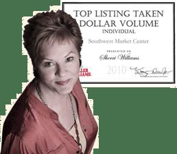 Photo of Sherri Williams with Top Listing Award, Sherri Williams, real estate agent austin, award winning Austin TX real estate agent, best realtors in austin texas, top austin realtor