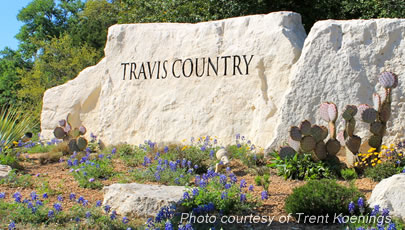 Entrance to Travis Country Subdivision, Travis Country Subdivision in Austin TX, travis country