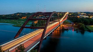 pennybacker bridge at night, 360 bridge, austin, austin texas, austin is prospering, sherri williams realtor, keller williams realty, keller williams austin