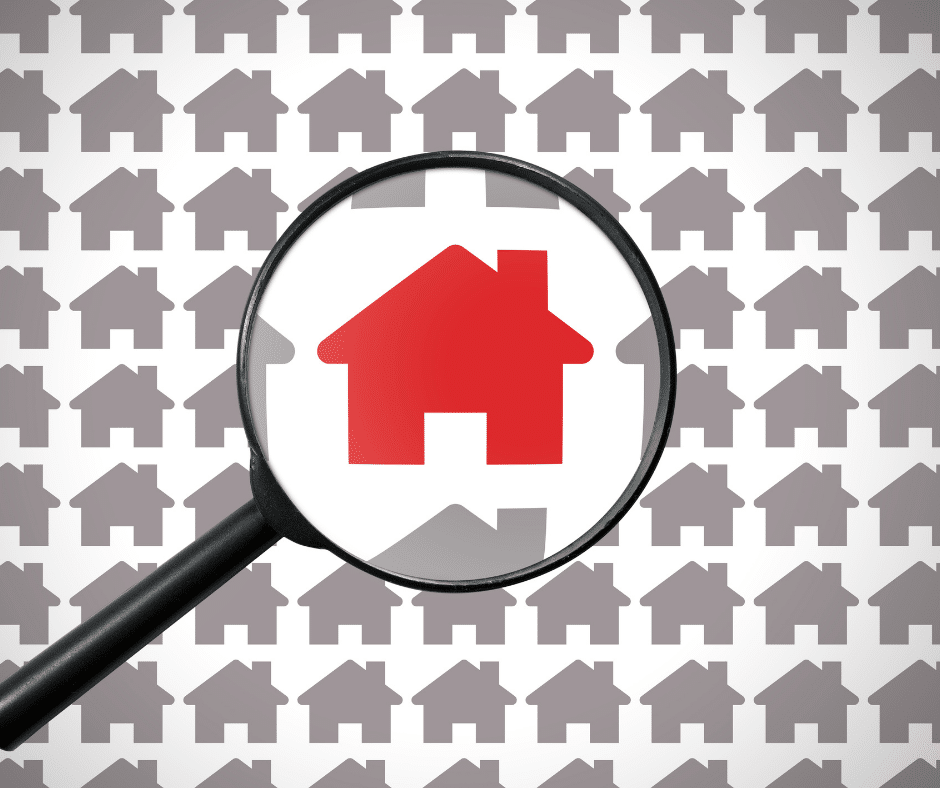 magnifying glass on a icon of a home in red surrounded by grey home icons, top 10 things to consider when buying a home, sherri williams realtor, realtor austin tx